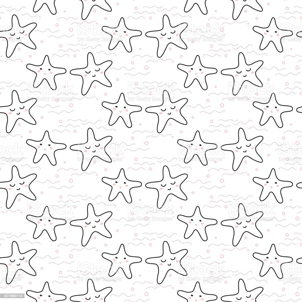 Stella Stilizzata Linea Divertente Motivo Senza Interruzioni Per