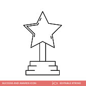 istock Star Success And Awards Thin Line Icon With editable Strokes 1298316435