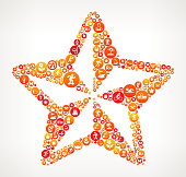 Star Summer Vacation Fun. This illustration depicts the main object in the center of the composition. It is made up of a red, orange and yellow summer pattern. The pattern is made up of round buttons. Each button has a summer fun and vacation icon on it. The buttons are different in size and color. The background is light with a slight gradient around the edges.