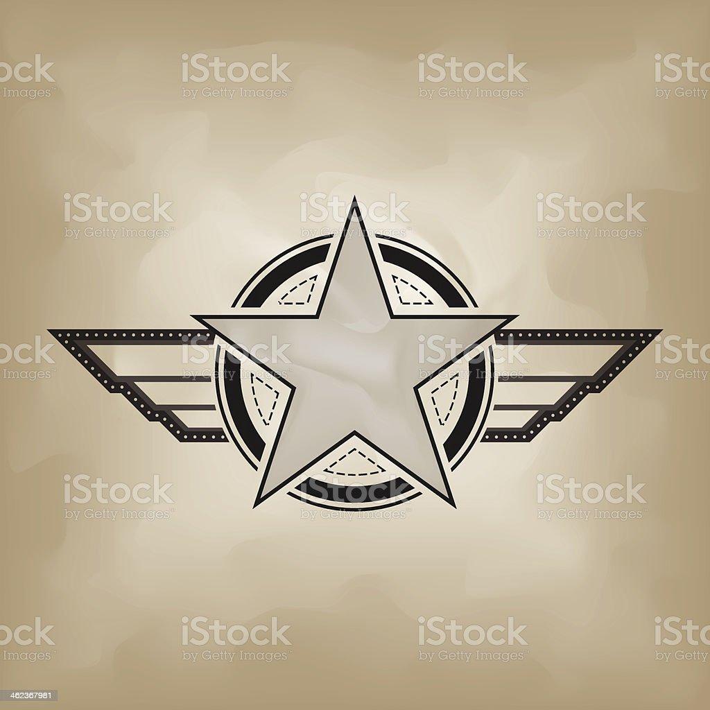 star symbol on crumple paper vector art illustration