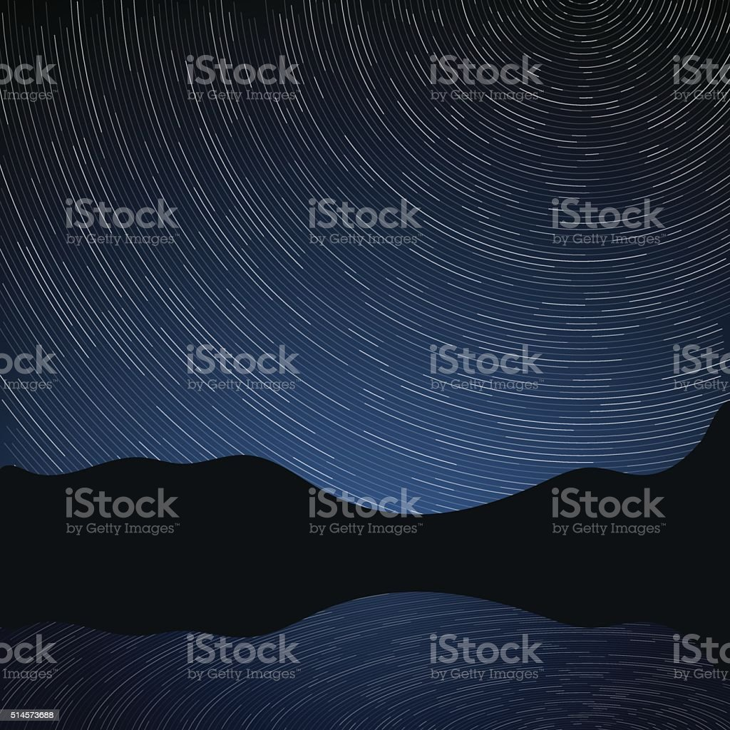 Star trails in the night sky and rocks vector art illustration