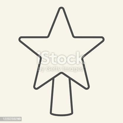 istock Star tree top thin line icon. Christmas Star outline style pictogram on white background. New Year and Christmas decoration for mobile concept and web design. Vector graphics. 1220233299
