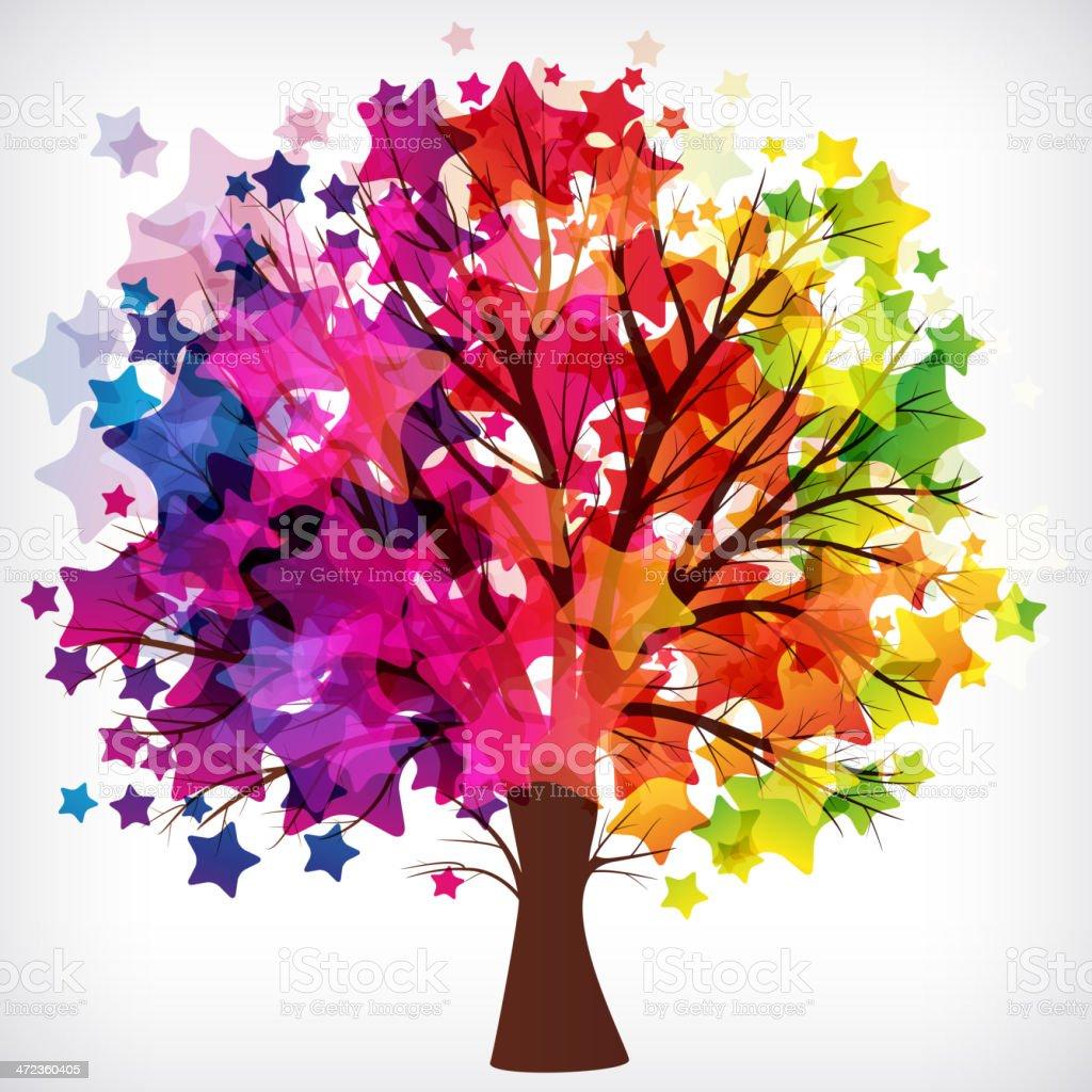 Star Tree vector art illustration