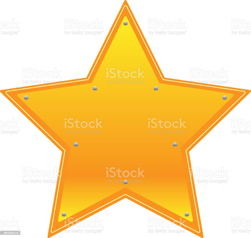 Star type Gold metal plate - Royalty-free Anniversary stock vector