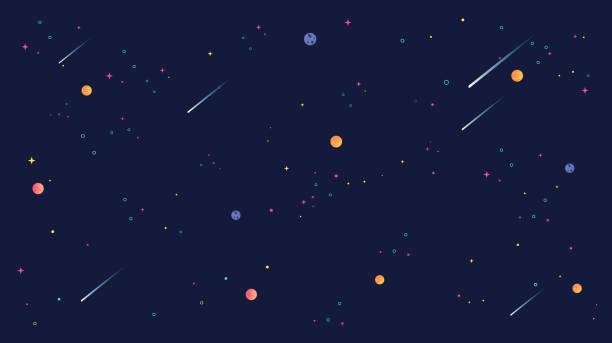 star universe background illustration. flat design for kid. - галактика stock illustrations