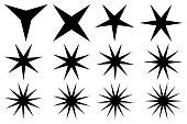 Star - vector set - black on white background