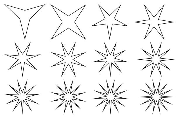 stockillustraties, clipart, cartoons en iconen met star - vector set - gepunt