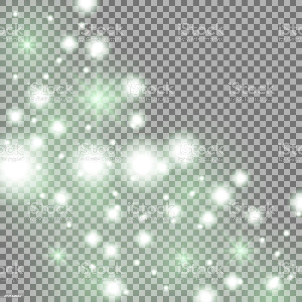 Star way with sparkles, green color vector art illustration
