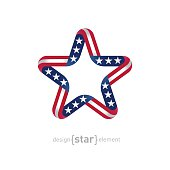 star with american flag colors and symbols vector design element