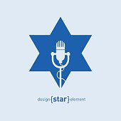 Star with microphone Abstract design element
