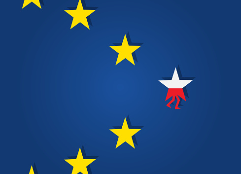 Star With Polish Flag Walk Away From Eu Stars Stock Illustration - Download  Image Now