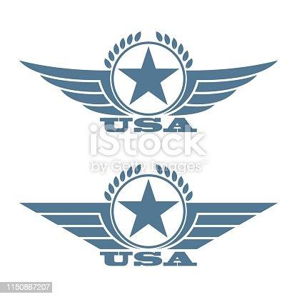 Emblem illustration in blue color