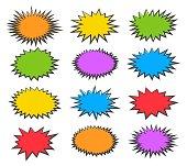 Starburst bubbles. Vector boom or explosion comic speech bubble set, bursting splash shapes on white