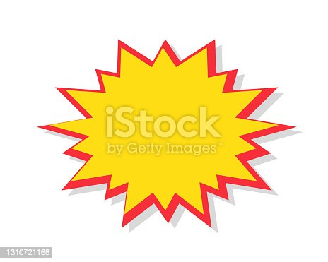 istock Starburst in cartoon style. Red speech bubble badge isolated on background. 1310721168