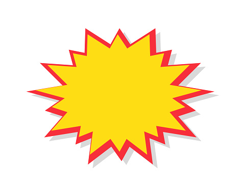 Starburst in cartoon style. Red speech bubble badge isolated on background.