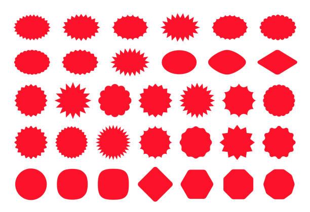 ilustrações de stock, clip art, desenhos animados e ícones de starburst price tag product badges and stickers. vector illustration. - forma