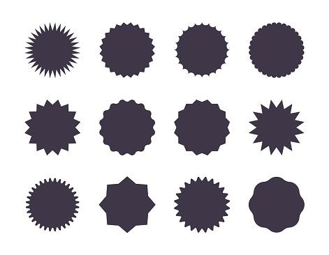Starburst sale sticker. Sunburst price tag, promotion star set, black silhouettes on white background. Vector sale stickers