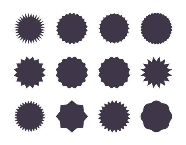 naklejka sprzedaży starburst. sunburst price tag, zestaw gwiazd promocyjnych, czarne sylwetki na białym tle. naklejki sprzedaży wektorów - przypinka stock illustrations