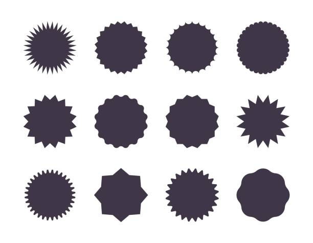 Starburst sale sticker. Sunburst price tag, promotion star set, black silhouettes on white background. Vector sale stickers Starburst sale sticker. Sunburst price tag, promotion star set, black silhouettes on white background. Vector sale stickers jagged edge exploding stock illustrations