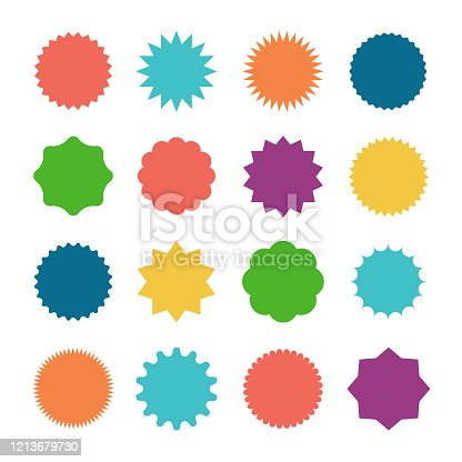Starburst sale sticker. Sunburst price tag, colors silhouettes on white background.