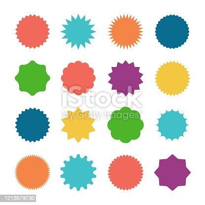 Starburst sale sticker. Sunburst price tag, colors silhouettes on white background.