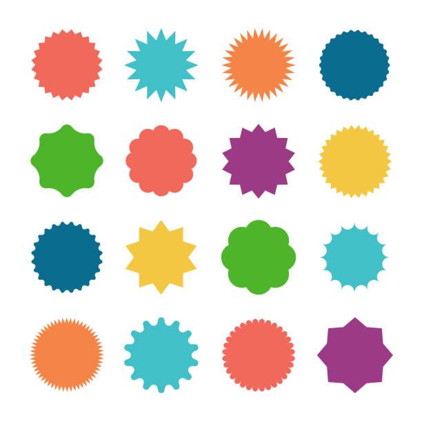 naklejki sprzedażowe starburst - przypinka stock illustrations