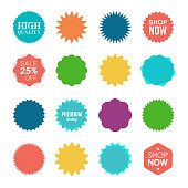 Starburst sale sticker. Sunburst price tag, colors silhouettes on white background