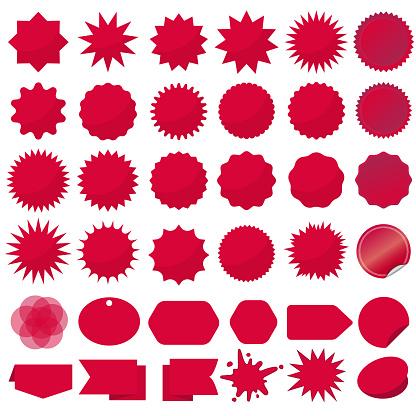 Starburst seals set, Bursting rays clip art. Red sparkles. Sale sticker. Vector