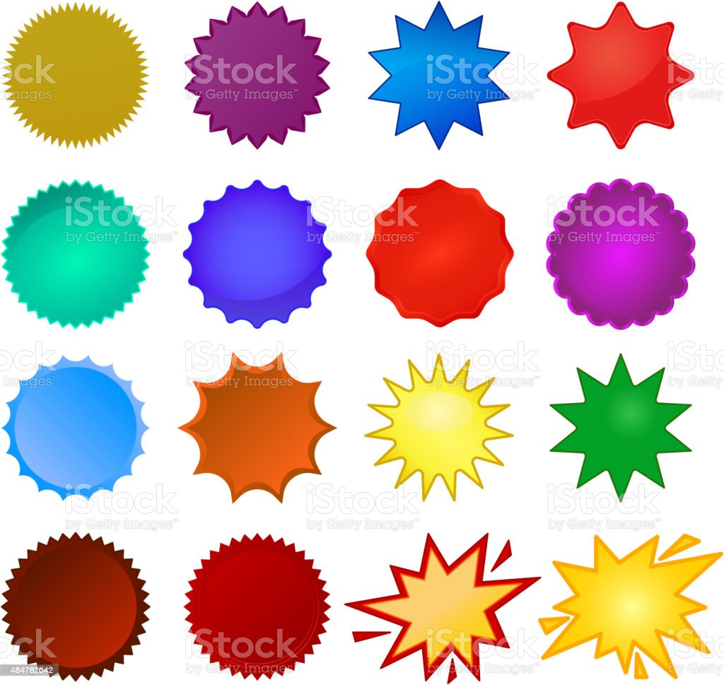 starburst seals vector art illustration