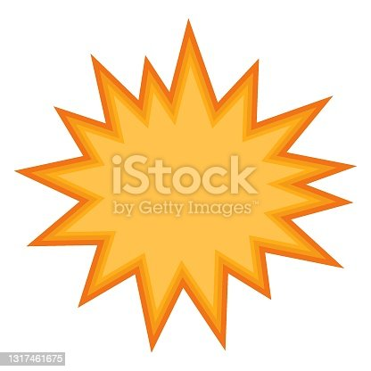 istock Starburst speech bubble icon. Comic style colorful cloud for use on web, mobile apps and print media. Explosion symbol. 1317461675