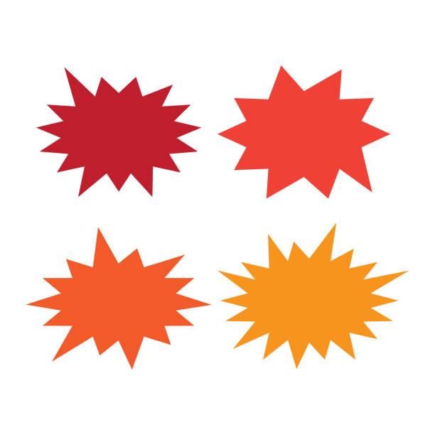 illustrazioni stock, clip art, cartoni animati e icone di tendenza di starburst speech bubbles set. bursting icon. starburst isolated icons set - riflesso