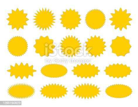 Starburst yellow sticker set - collection of special offer sale round and oval sunburst labels and buttons isolated on white background. Stickers and badges with star edges for promo advertising.