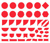 Price burst box. Starburst promo sticker. Vector. Round star icon. Set sale tag badges. Red circle, cloud, flag shapes. Sunburst label isolated on white background. Color illustration. Simple pricetag.