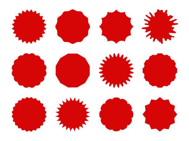 ilustrações, clipart, desenhos animados e ícones de adesivos starburst. bandeiras dadas forma estrela da venda, etiquetas da bolha do discurso. sinais vermelhos da explosão, jogo do tag do cupom do preço do promo isolado - selo