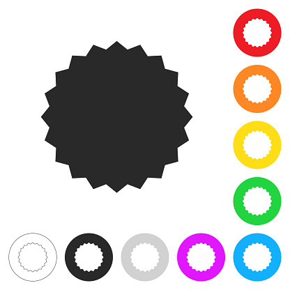Starburst sunburst badge. Flat icons on buttons in different colors