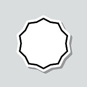"""Icon of """"Starburst sunburst badge"""" on a sticker with a drop shadow isolated on a blank background. Trendy illustration in a flat design style. Vector Illustration (EPS10, well layered and grouped). Easy to edit, manipulate, resize or colorize. Vector and Jpeg file of different sizes."""