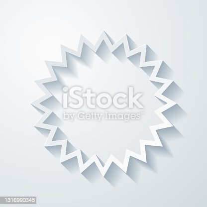 istock Starburst sunburst badge. Icon with paper cut effect on blank background 1316990345