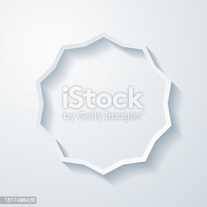 istock Starburst sunburst badge. Icon with paper cut effect on blank background 1317498420