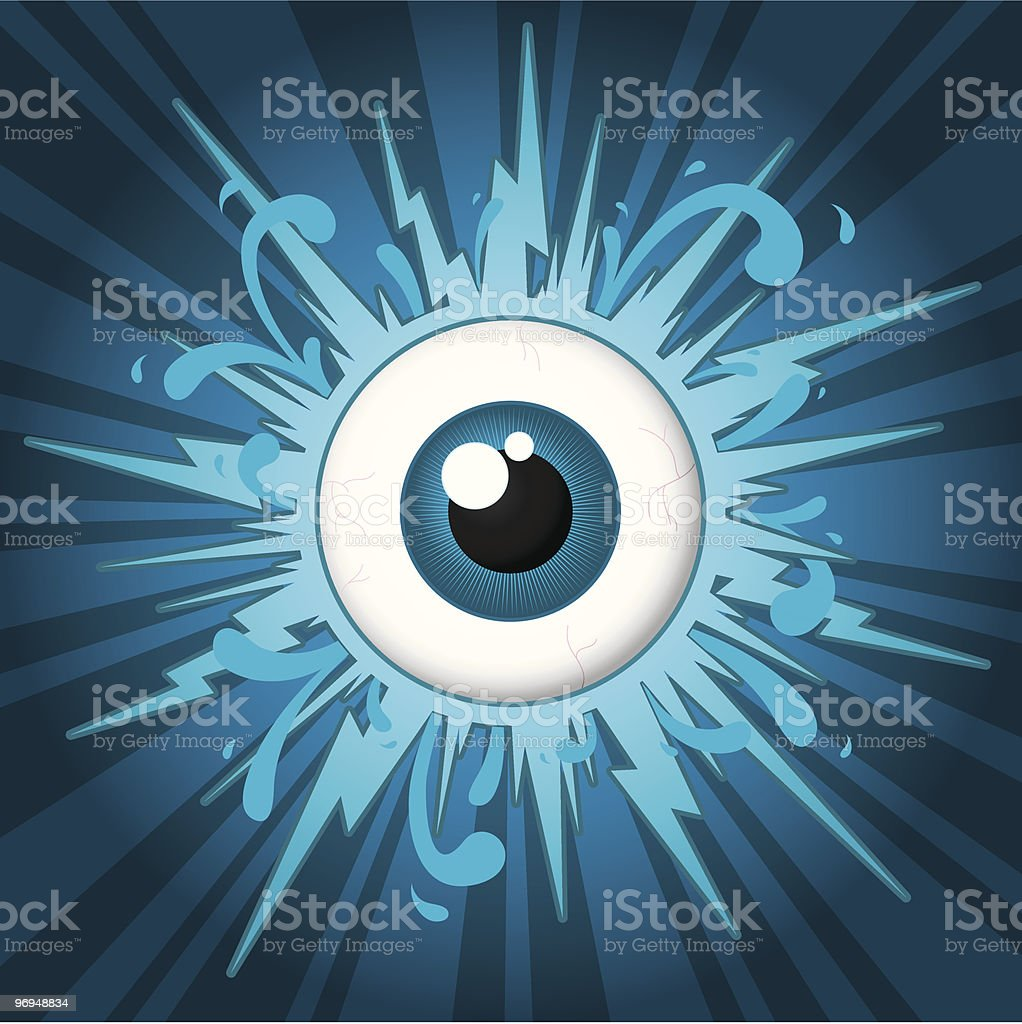 Starburst with eyeball on blue background royalty-free starburst with eyeball on blue background stock vector art & more images of abstract