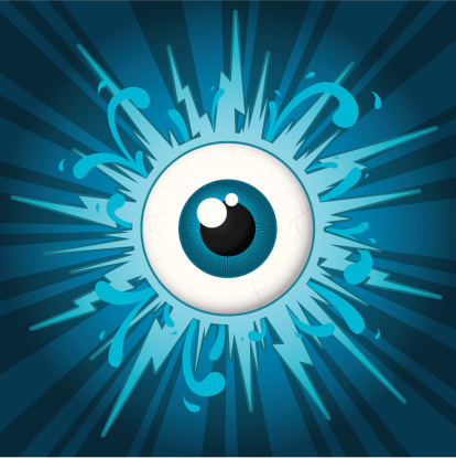 Starburst With Eyeball On Blue Background Stock Vector Art