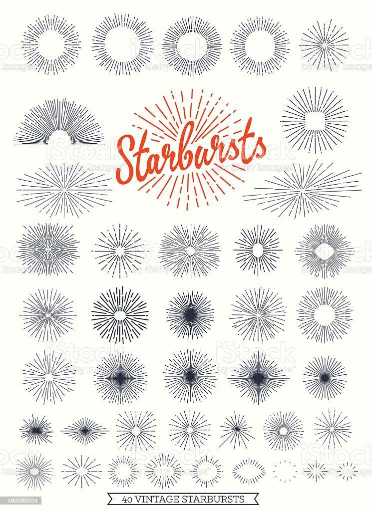 Starbursts collection for vintage retro logos vector art illustration