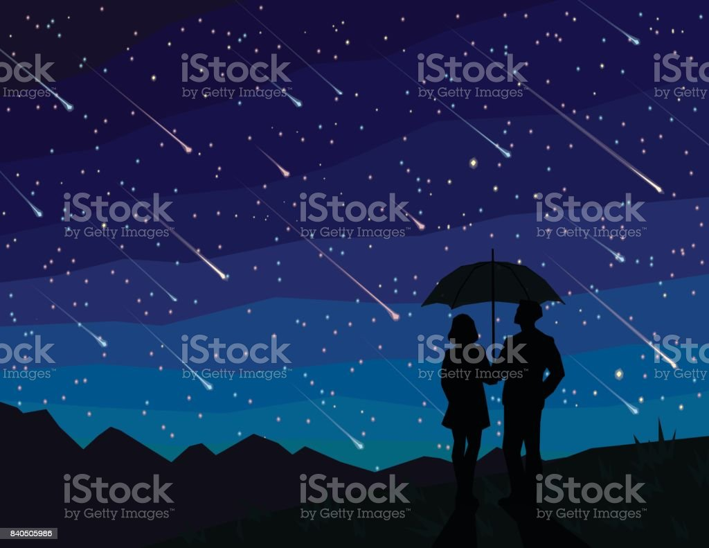Starfall Silhouette Of Couple Under Umbrella Watching