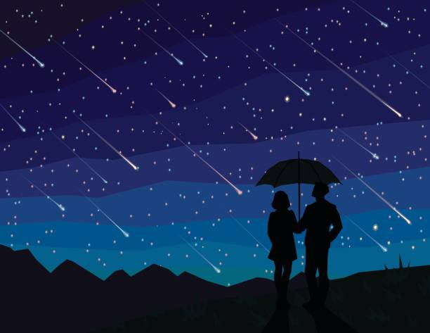 starfall. silhouette of couple under umbrella, watching falling stars. the starry night sky. meteor shower. - astronomy telescope stock illustrations