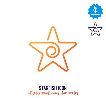 Starfish Continuous Line Editable Icon