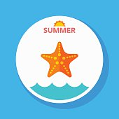 star-fish flat icon with long shadow on circle background