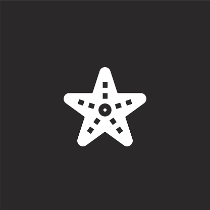 starfish icon. Filled starfish icon for website design and mobile, app development. starfish icon from filled summer holidays collection isolated on black background.