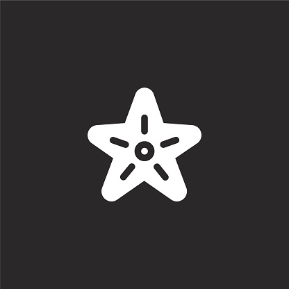 starfish icon. Filled starfish icon for website design and mobile, app development. starfish icon from filled sea life collection isolated on black background.