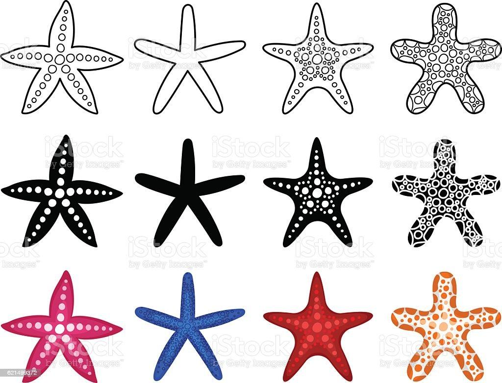 Starfish icon set starfish icon set – cliparts vectoriels et plus d'images de beauté libre de droits