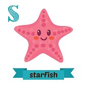 Starfish. S letter. Cute children animal alphabet in vector