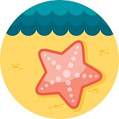 Starfishe flat icon with long shadow, eps 10